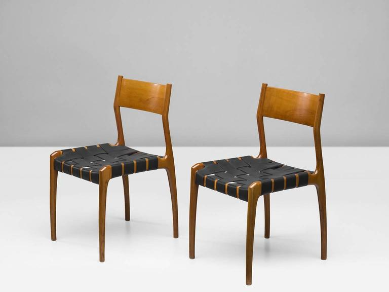 Mid-Century Modern Set of Six Italian Dining Chairs For Sale