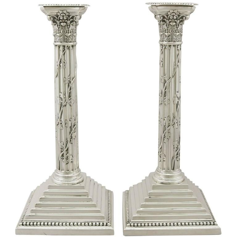 Antique Victorian Sterling Silver Corinthian Column