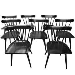 Set of Eight Modern Paul McCobb Planner Group Spindle Back Chairs in Black