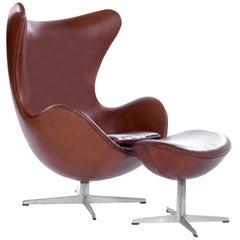Arne Jacobsen for Fritz Hansen Egg Chair and Footstool, Denmark, 1965