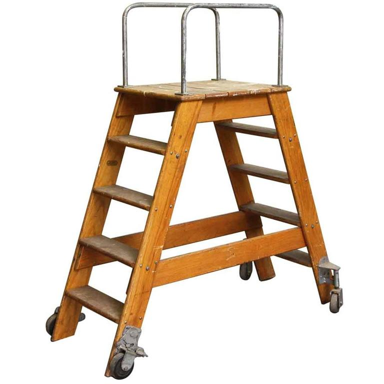1950s Putnam Rolling Ladder With Two Sided Steps And Wheels For