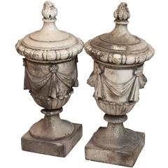 1890s Pair of White Crackled Terracotta Urns with Swags