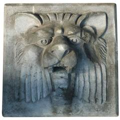 1920s Terracotta Square Lion Head Stone from a Manhattan Building