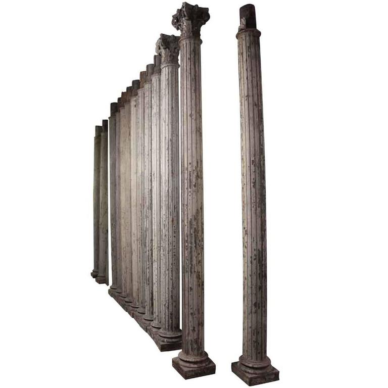 1910 Historic Grand Central Station Era Cast Iron Fluted Ornate Doric Columns For Sale