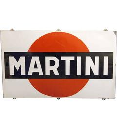 1967 French Steel Martini Sign Done in Porcelain Enamel