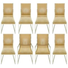 Milo Baughman Set Of Eight High Back Crome Dining Chairs 1970s