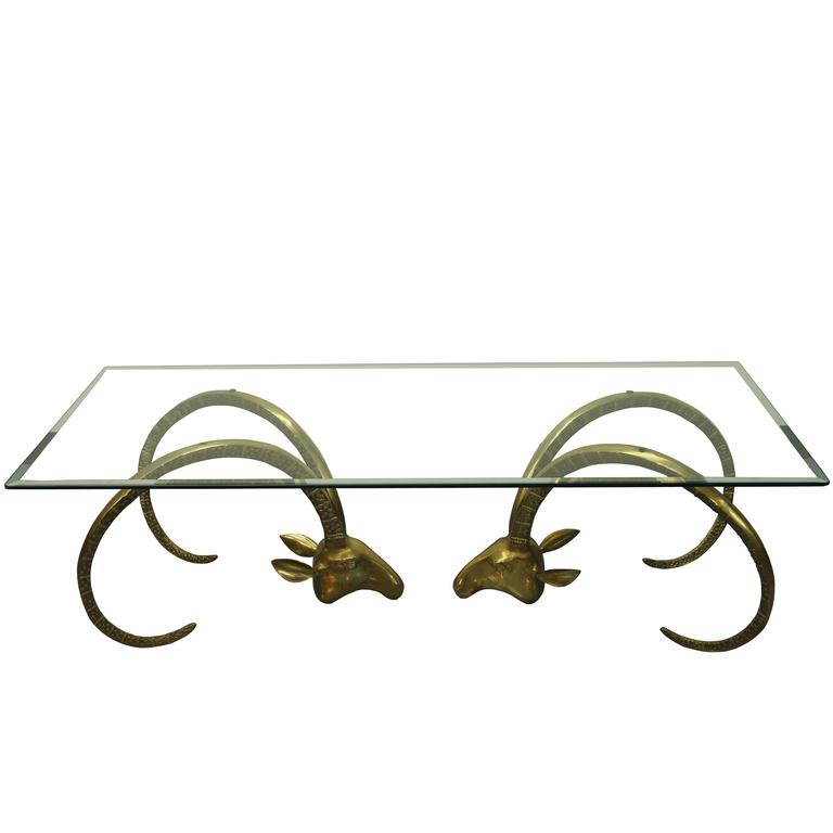Ibex Sculptural Brass Rams Head Coffee Table in the Manner of Chervet