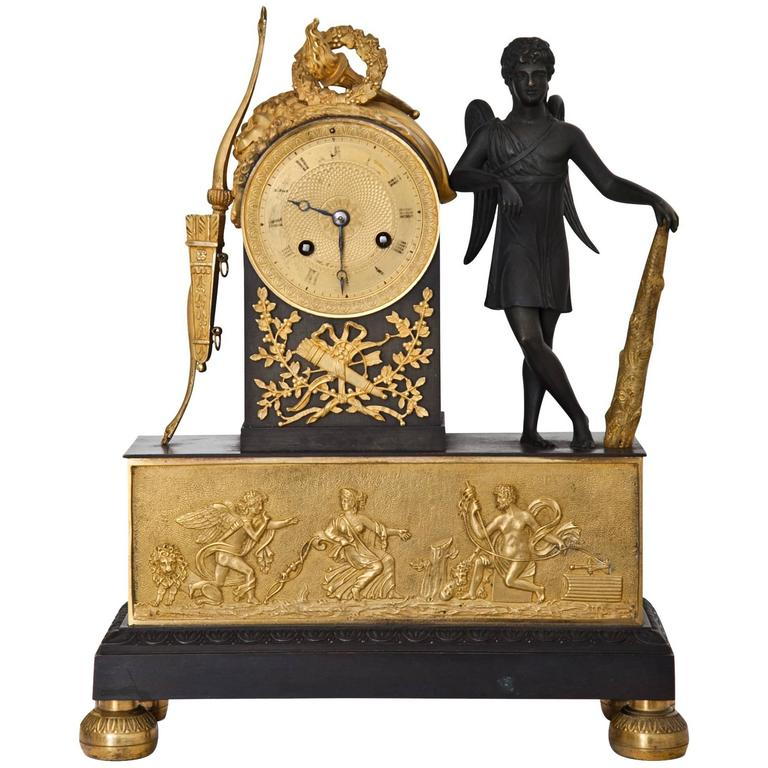 Pendule Clock with Cupid, First Half of the 19th Century 1