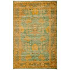 Green Arts and Crafts Area Rug