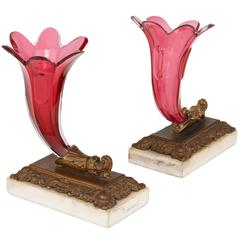 Pair of Ruby Red Cornucopia Shaped Bohemian Glass Vases