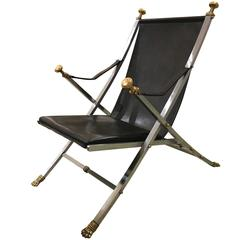 Chic 1960s Brushed Steel, Bronze and Leather Campaign Chair by Otto Parzinger