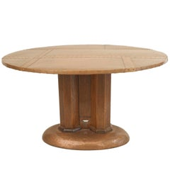 English Arts and Crafts Center Table with a Round Copper Top