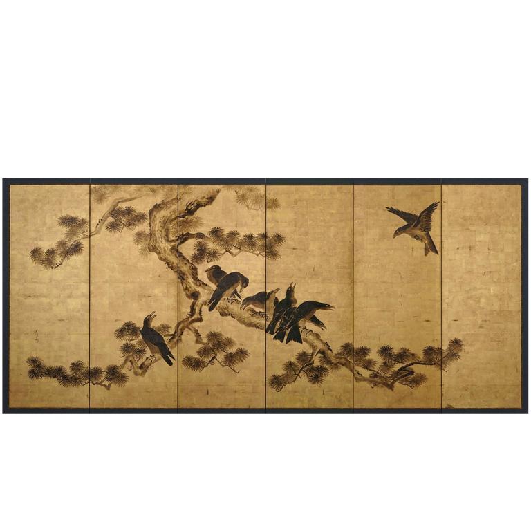Japanese screen c.1700 by Kano Chikanobu, Crows and Pine