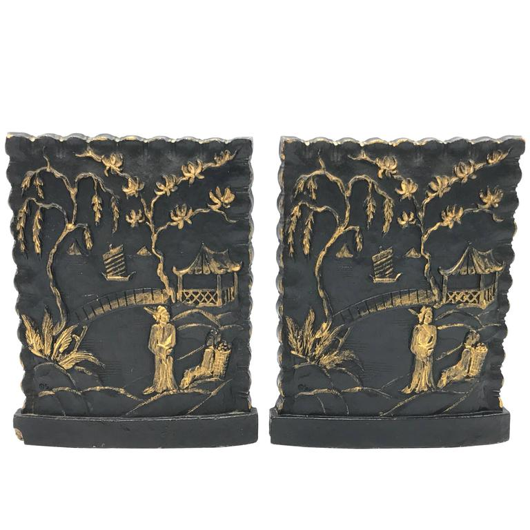 1920s Black and Gold Asian Bookends, Pair