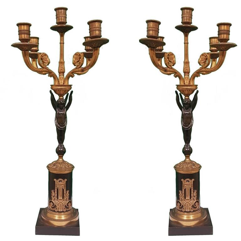 Pair of Bronze Candelabras, 19th Century
