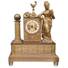 Antique French Gold Plated Bronze Shelf Clock, 19th Century