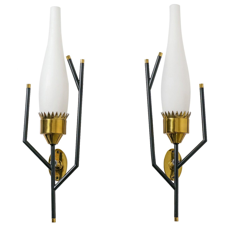Unique Italian Modernist Brass and Glass Sconces, 1950s