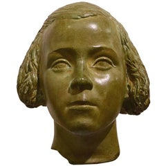 Young Girl Bust Statue by Attilio Torresini, Italy, 1930s