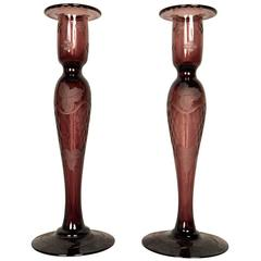 Pair of Etched Art Glass Candlesticks