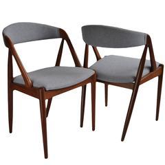 Set of Eight Teak Kai Kristiansen Dining Chairs, Re-Upholstered