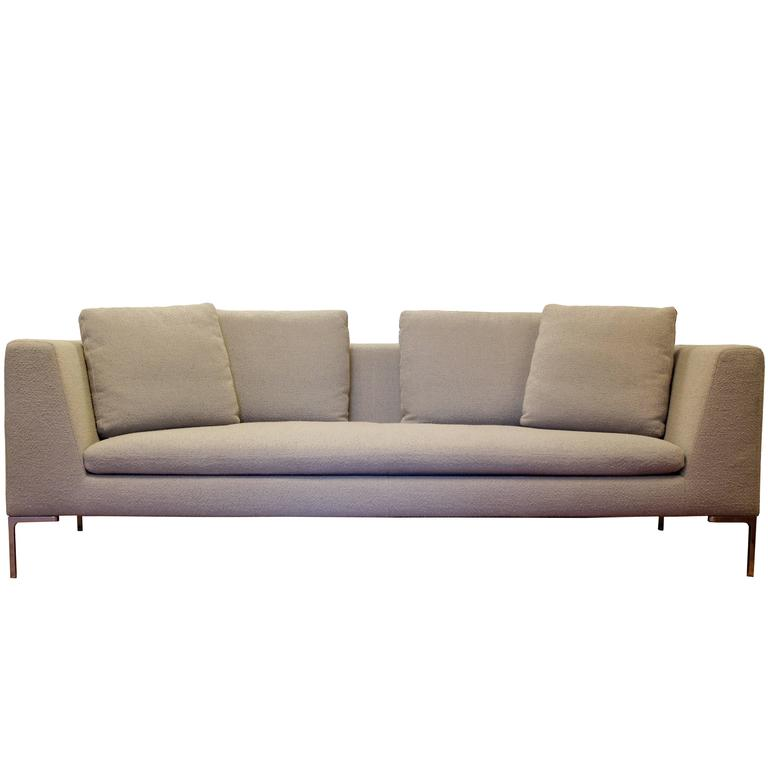mid century modern b b italia charles sofa chrome legs. Black Bedroom Furniture Sets. Home Design Ideas