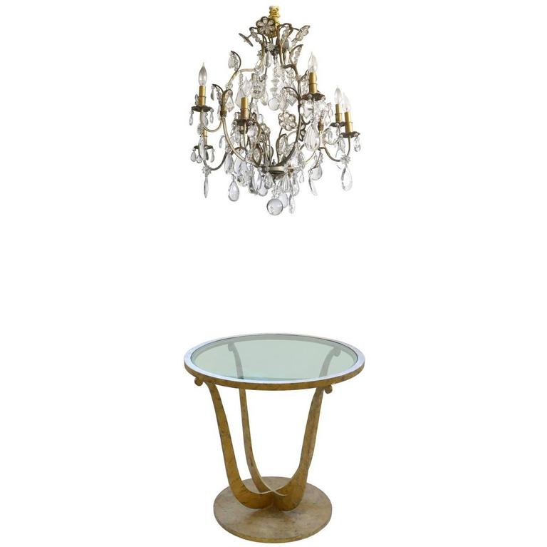 Art Deco Gilt Metal Round Gueridon Table with Hollywood Regency Chandelier