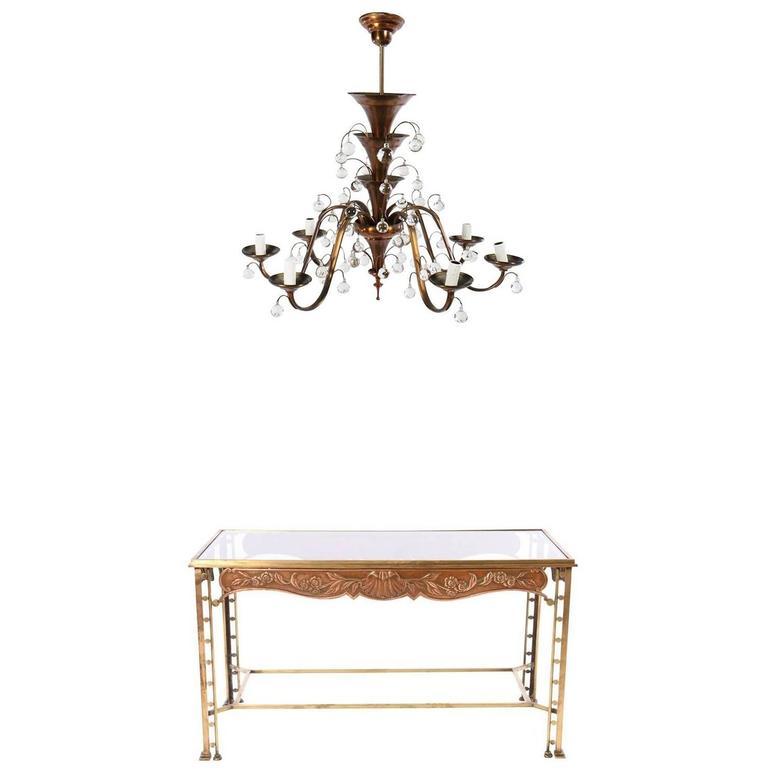 Art Deco Bronze Side Table with Art Deco Six-Arm Glass Ball Copper Chandelier