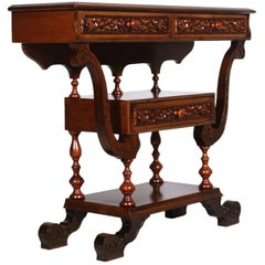 Early 20th Century Neo-Gothic Cabinet Console in Hand-Carved Walnut