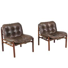 Arne Norell Rosewood and Leather Lounge Chairs for Scanform