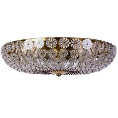 Chic Colossal H. Richter Glass Flowers Wall / Ceiling Plafoniere or Flush Mount