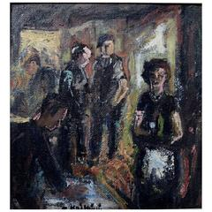 Unknown Painter, Mid-20th Century, Interior, Oil on Board