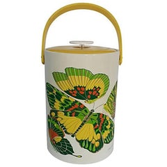 "Vintage Georges Briard Large Thermal Lidded ""Butterflies"" Ice Bucket"