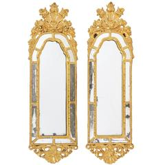 Pair of Italian 18th Century Carved Giltwood Mirrors