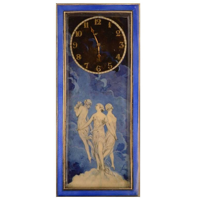 20th Century Silver Clock, Art Nouveau For Sale