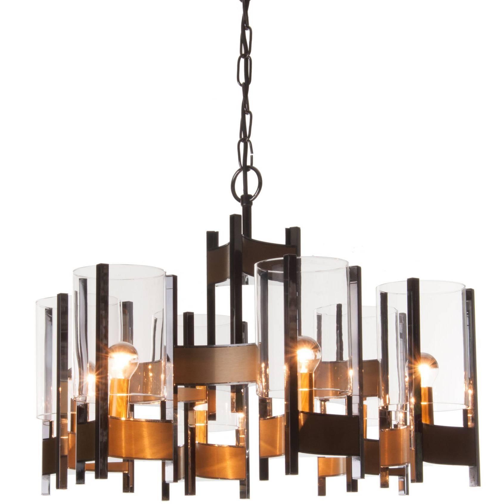 1960s Six-Light Chrome and Glass Chandelier by Gaetano Sciolari