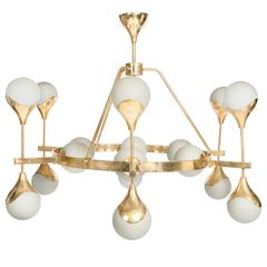 Italian Mid-Century Murano Glass White Globe Chandelier with Brass Construction