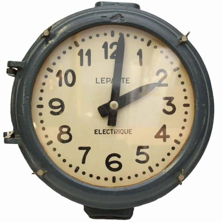 1950s Nautical Cast Iron Blue Industrial Wall Clock From