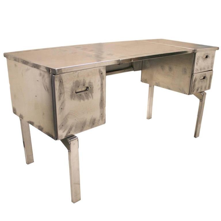 Vintage Industrial Mid-Century Modern Aluminum Folding Desk