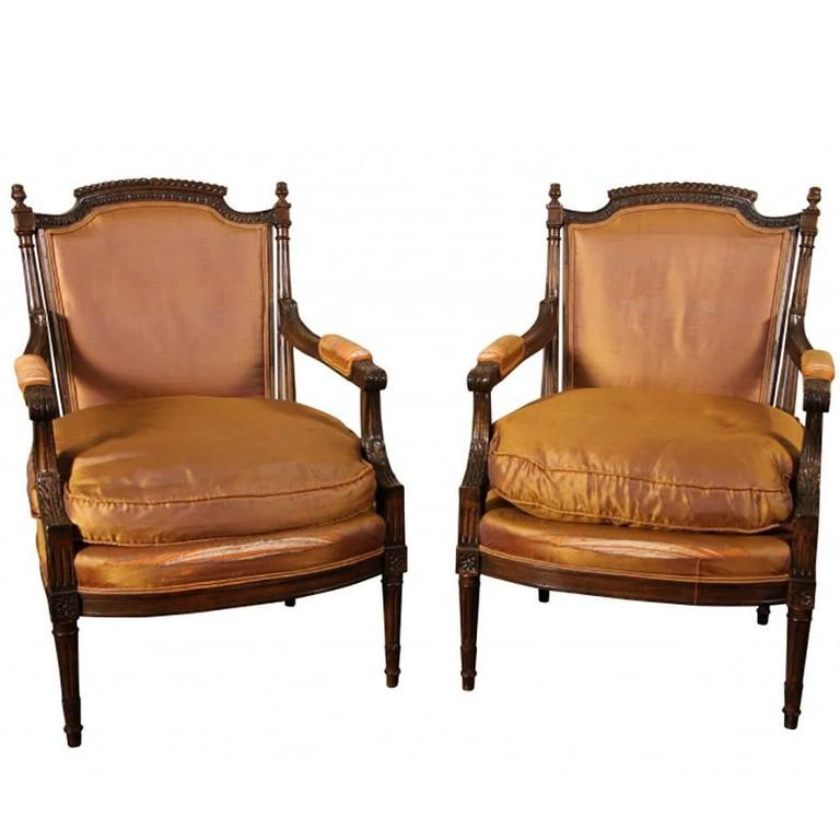 Pair of Carved Fauteuils in Napoleon III Style at 1stdibs