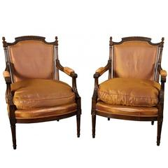 Pair of Carved Fauteuils in Napoleon III Style