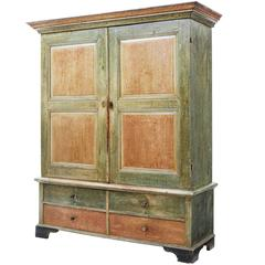 19th Century Rustic Swedish Pine Ragwork Painted Cabinet on Chest