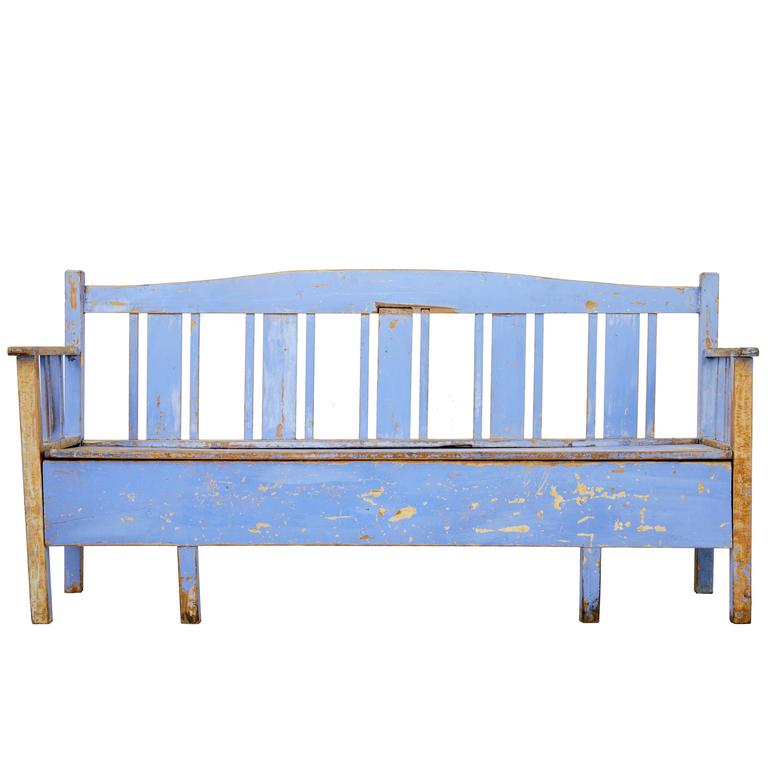19th Century, Scandinavian Painted Pine Bench