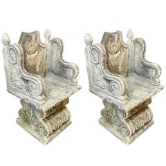 Pair of Stone Garden Chairs, Italy, 1920s