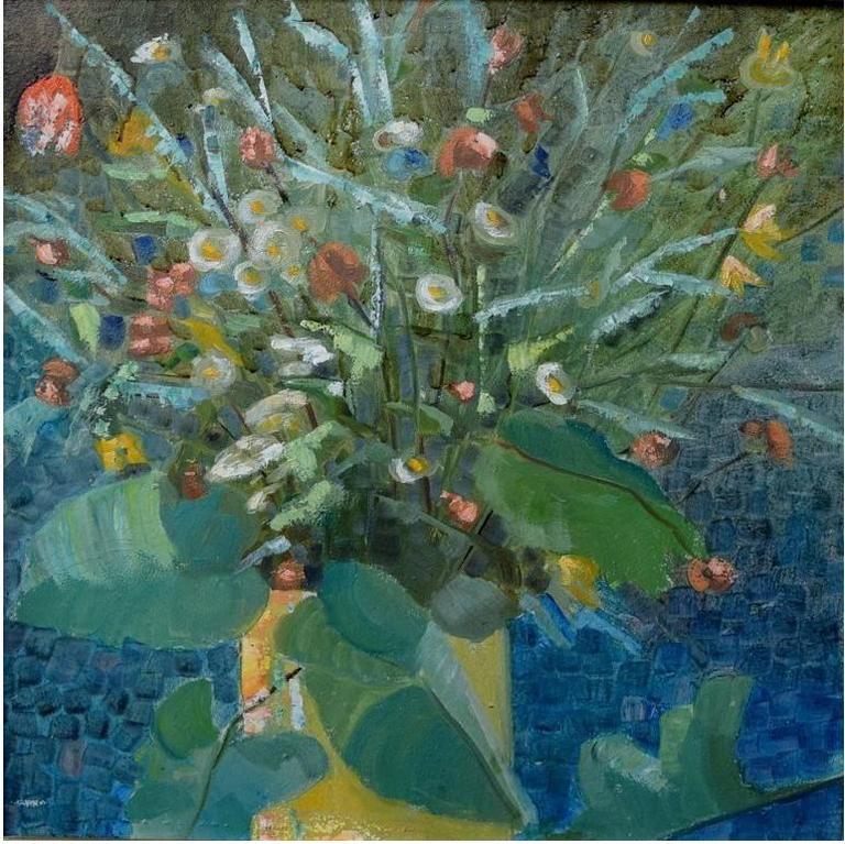 Flower Painter Mid-20th Century, Flower Still Life, Oil on Board