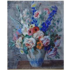 N. P. Bolt. Listed Danish Artist. Still Life with Flowers, Pastel. Signed N. P.