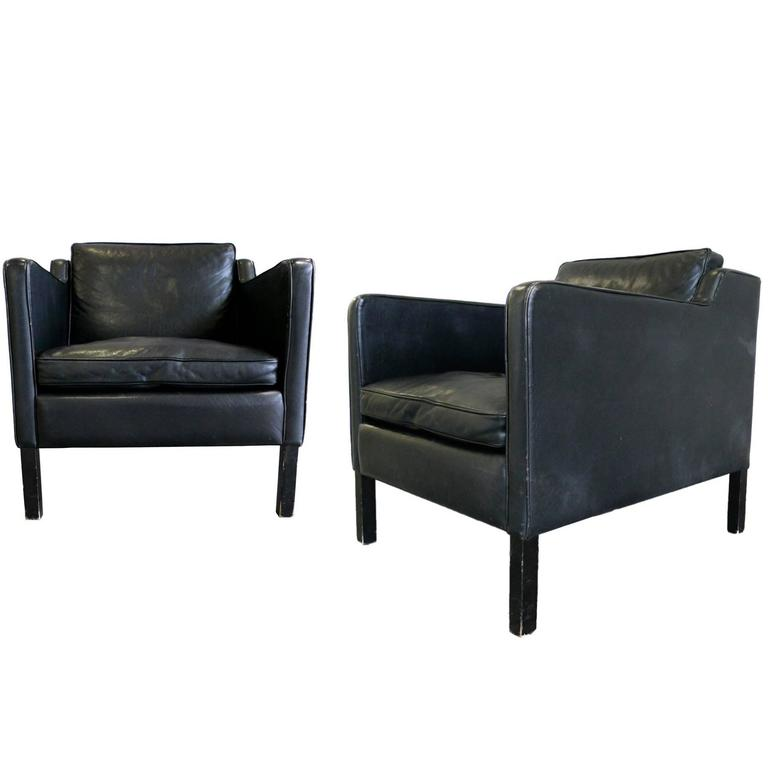 Magnificent Stouby Black Leather Club Chairs In The Style Of Borge Mogensen Interior Design Ideas Gentotryabchikinfo