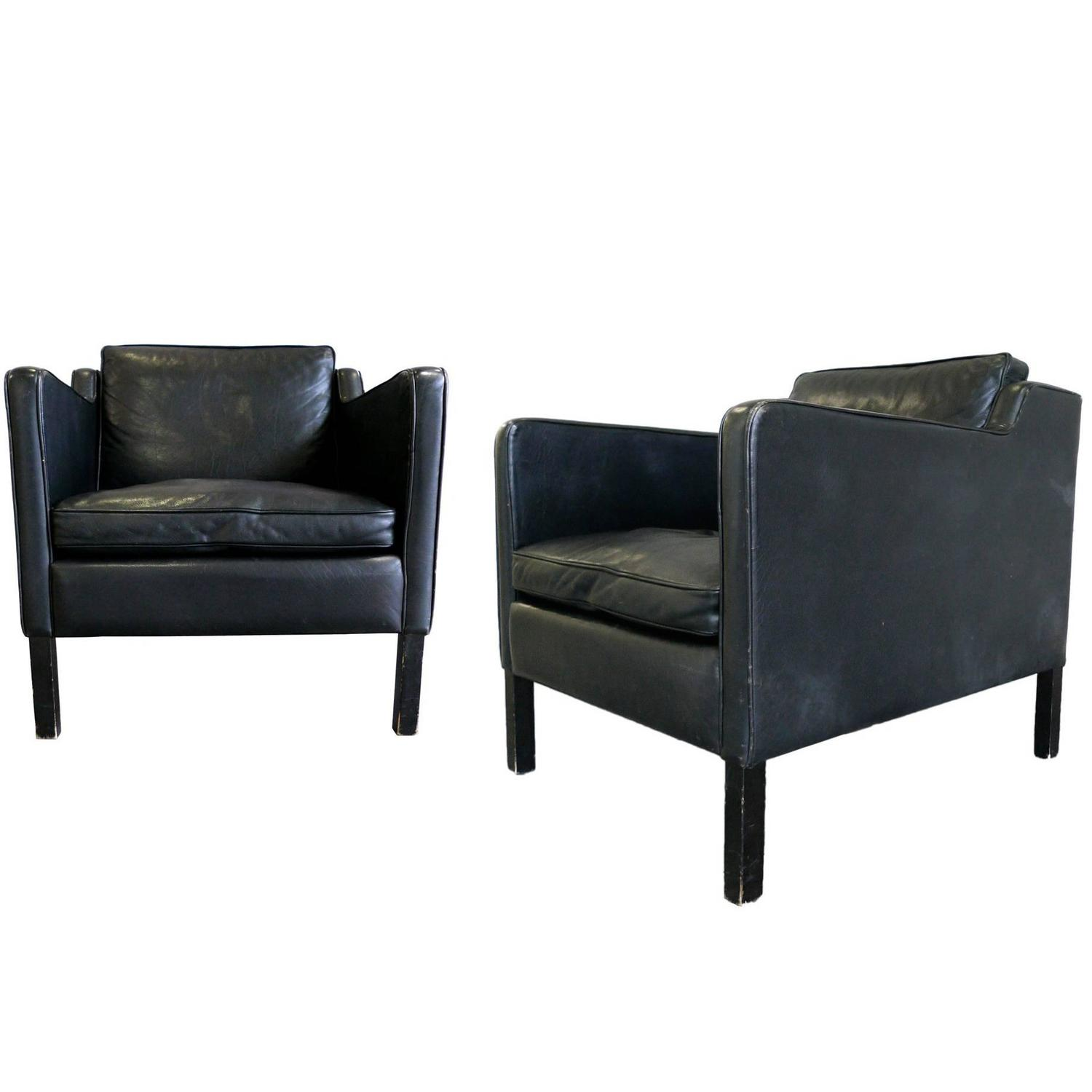 Stouby Black Leather Club Chairs in the Style of B¸rge Mogensen at