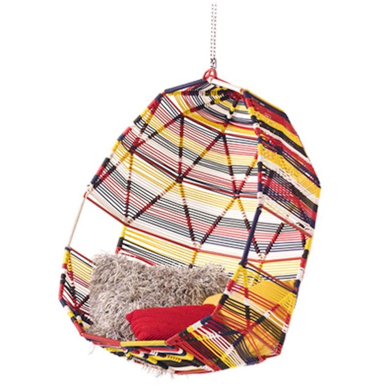 Moroso Tropicalia Cocoon Swing in Multi-Colored Polymer for Outdoor Use 1