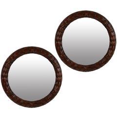 Pair of Fine Circular Mahogany Laurel Mirrors