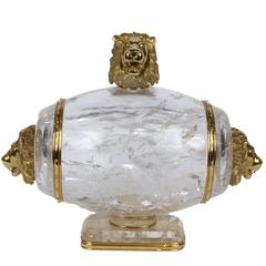 Gold and Diamond Mounted Antique Rock Crystal Barrel